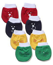 Simply Multi Printed Set Of 4 Mittens - Red Yellow Black Green