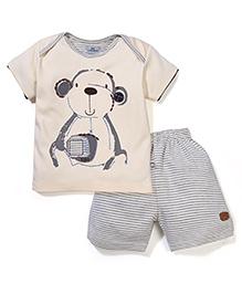 Mini Taurus Teddy Print T-Shirt & Striped Shorts Set - Beige