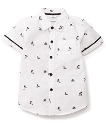 Babyhug Half Sleeves Shirt Tree Print - White