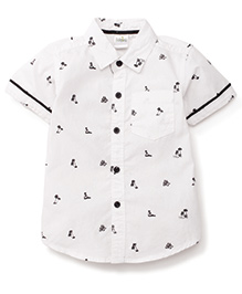 Babyhug Half Sleeves Shirt Tree Print - Navy Blue And White
