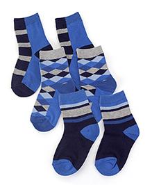 Jefferies Socks 3 Pairs Of Socks - Brown Black & Blue