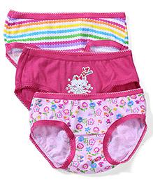 Babyhug Multi Print Panties Set of 3 - Pink Fuchsia White