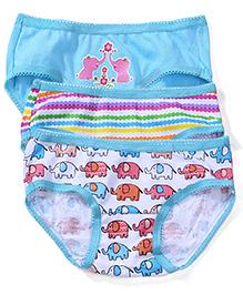 Babyhug Panties Elephant Print Set of 3 - Aqua White