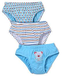 Babyhug Panties Teddy Print Set of 3 - White And Blue