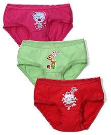 Babyhug Panties Multi Print Set of 3 - Green Red Pink