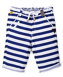 Little Kangaroos Capri Stripes Print - Navy Blue And White