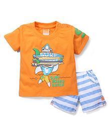 Little Kangaroos Half Sleeves Surf Board Eater Print T-Shirt And Shorts Set - Orange And Blue