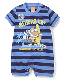 Little Kangaroos Stripe With Surfs Up Print Rompers - Blue And Navy Blue