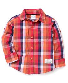 Babyhug Full Sleeves Shirt Checks Print - Red