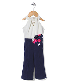 Little Kangaroos Halter Neck Jumpsuit With Floral Appliques - Navy Blue And Off White