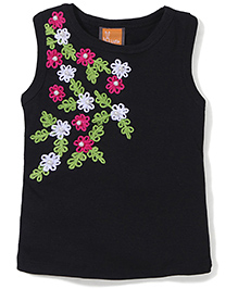Little Kangaroos Sleeveless Top Floral Embroidery And Pearl Embellishments - Black