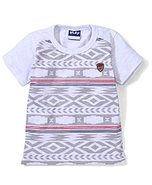 Play By Little Kangaroos Half Sleeves Embroidery Print T-Shirt - Melange