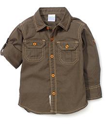 Babyhug Full Sleeves Solid Color Shirt - Green