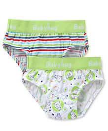 Babyhug Briefs Pack of 2 - White Green