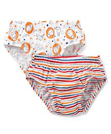 Babyhug Briefs Pack of 2 - White Orange