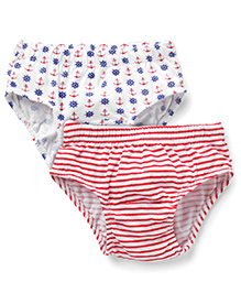 Babyhug Briefs Anchor And Stripe Print Pack of 2 - White Red