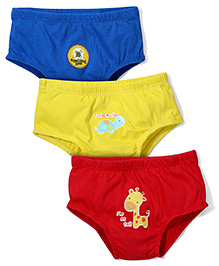 Babyhug Printed Briefs Set of 3 - Red Yellow Blue