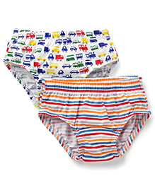 Babyhug Briefs Car And Stripe Print Pack of 2 - Multicolour
