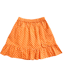 Campana Dotted Skirt With Bow Applique - Orange