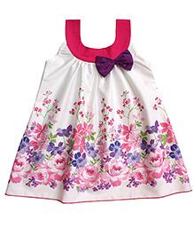 Campana Sleeveless A Line Dress Floral Print - Off White Pink Purple