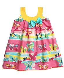 Campana Sleeveless A Line Dress Butterflies Print - Pink Yellow Aqua