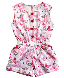 Campana Sleeveless Butterflies Print Jumpsuit - Pink And White
