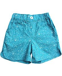 Campana Printed Curved Hem Shorts - Blue