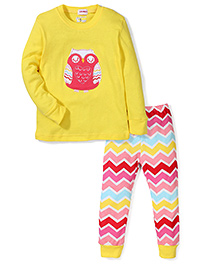Adores Owl Print Nightwear Set - Yellow