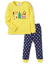 Adores Christmas Theme Nightwear Set - Yellow & Navy