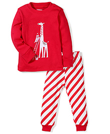 Adores Giraffe Print Nightwear Set - Red
