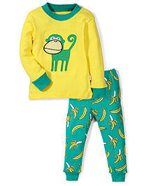 Adores Monkey Print Nightwear Set - Yellow & Green