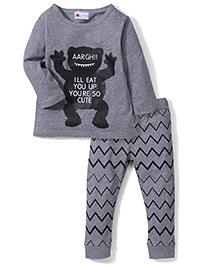 Adores Aargh Print Nightwear Set - Grey