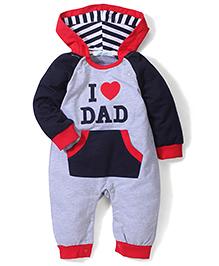 Adores Dad Print Hooded Romper - Navy & Grey