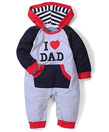 Adores Dad Print Hooded Romper - Navy & Grey