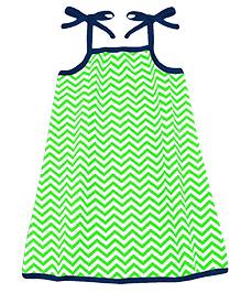 A.T.U.N. Sarah Dress Chevron Print - Green & Navy