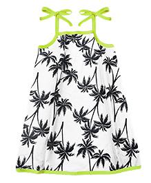 A.T.U.N. Sarah Dress Palm Tree Print  - Black Green