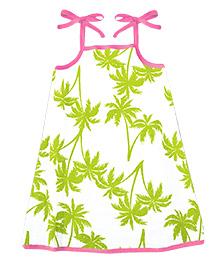 A.T.U.N. Sarah Dress Palm Tree Print  - Green & Fuschia