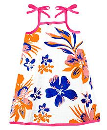 A.T.U.N. Sarah Dress With Aloha Print  - Orange & Purple