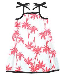 A.T.U.N. Sarah Dress With Palm Tree Print  - Coral & Black