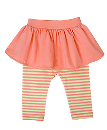 A.T.U.N. Peplum with Striped Leggings  - Yellow & Peach
