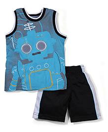 Little Rebels Stylish T-Shirt & Shorts 2 Piece Set - Blue & Black