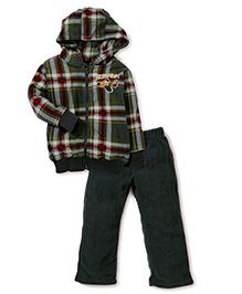 Little Rebels Ace Pilot Print Hooded Jacket & Pant Set - Green