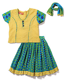 Exclusive from Jaipur Short Sleeves Choli And Ghagra With Dupatta - Yellow Green