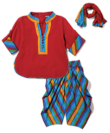 Exclusive from Jaipur Full Sleeves Kurta And Pajama With Dupatta - Maroon Blue