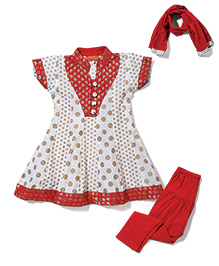 Exclusive from Jaipur Short Sleeves Dotted Kurti Churidar With Dupatta - Cream Red
