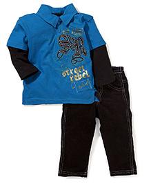 Little Rebels 2 Piece Pant & T-Shirt Set - Blue & Black