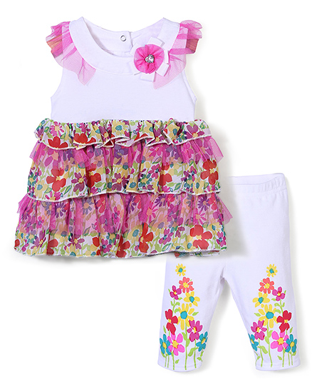 Nannette Floral Dress With Legging Set - White & Pink