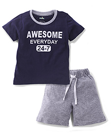 Babyhug Half Sleeves T-Shirt And Shorts Awesome Print - Navy Blue & Grey