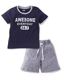 Babyhug Half Sleeves T-Shirt And Shorts Awesome Print - Navy Blue & Grey