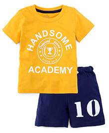 Babyhug Half Sleeves T-Shirt And Shorts Handsome Academy Print - Yellow Blue